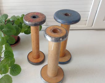 Industrial Wooden Bobbin Spools / Rustic Home Decor / Country Home / Primitive Americana / Set Three / Vintage Wooden Textile / Sewing Room