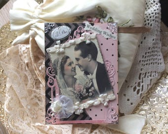 Handmade Wedding Card - Victorian Wedding Card - Vintage Couple Card
