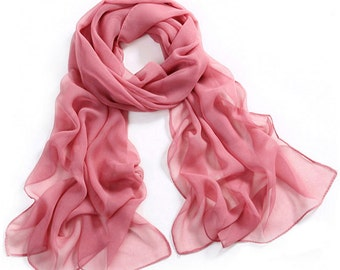 Pale Violet Red Chiffon Scarf - Plum Red Chiffon Scarf - PS31