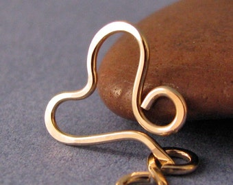 Small 14K Gold Filled Heart Clasp, Handmade Findings, Textured Finish, 18 gauge