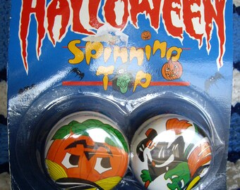 Vintage Halloween Yo-Yo Set, Spinning Top, Set of Two, Jack O Lantern, Witch, Halloween Decor