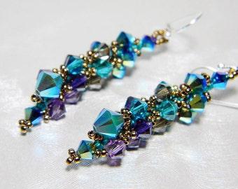 "Peacock Swarovski Short Crystal Earrings Jet 2X AB, Blue Zircon, Purple Velvet, Sterling Silver - ""Ombre dOiseaux"""