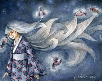 Carlota and her Magic Birds - Limited Edition Fine Art Print