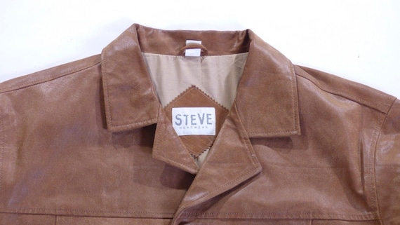 XXL Leather XL Hip Vintage Real Size Coat Jacket 100 Distressed STEVE Length Men's Brown qOw78xw