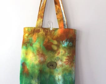 Ice Dyed Tote Bag, Handsewn, Sturdy! #126