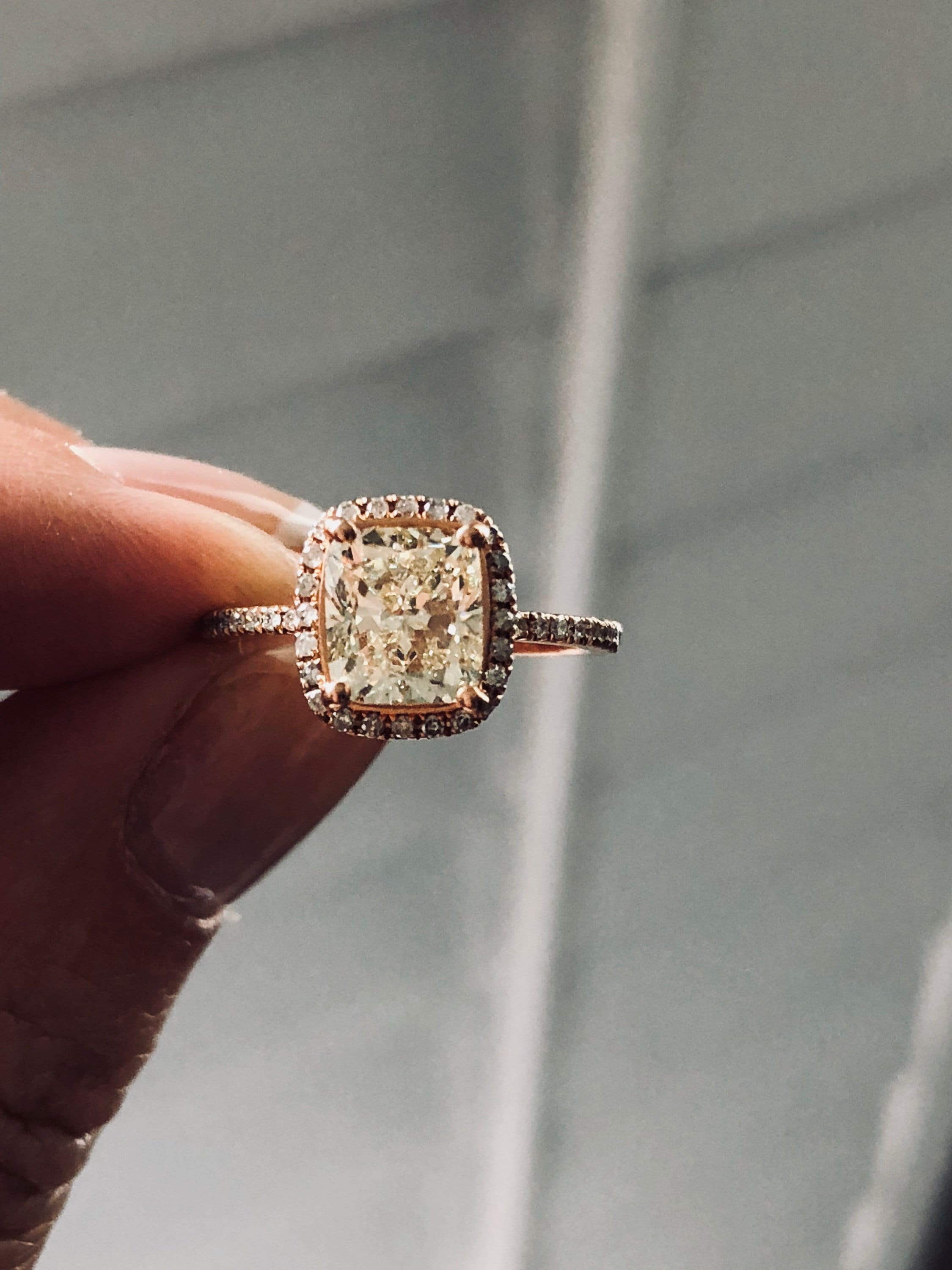 in cushion engagement diamond center mod forever one cush moiss vintage products conflict plain rose band ring diamonds kristin vint halo free moissanite sadie