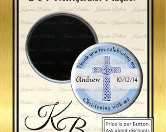"2.25"" Custom Boy Christening Favor Magnets, Blue Baptism Favors, Christening Keepsake, 1st Communion, Confirmation, Party Favors,"