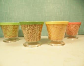 Vintage Pastel Raffia Sherbet Cups - Set Of 4 - 4 Oz -