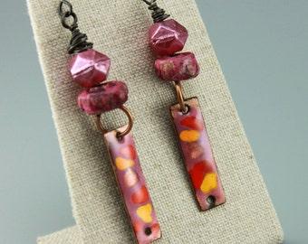 Hot Rose Pink Earrings, Rustic Pink Earrings, Rustic Bohemian Earrings, Gypsy Earrings, Hippie Earrings, Earthy Earrings, #739-114