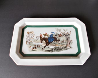 Vintage Ceramic Tray Vintage Serving Equestrian Decor Plate Wall decor Bar Cart Decor Fox Hunt Decor English Country Decor English Cottage