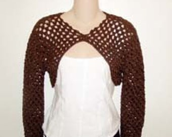 Brown Button Cardigan Shrug Crochet Pattern