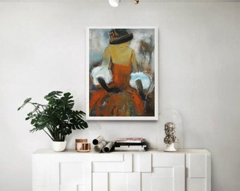 Abstract figure female, fashion painting lady orange dress,abstract figure art,wall canvas figure fashion art,Victorian classy lady painting