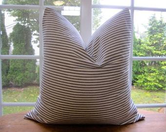 Ticking Stripe Pillow Cover, BLACK Ticking Pillow Cover 18 x 18, 20 x 20, 22 x 22, 24 x 24
