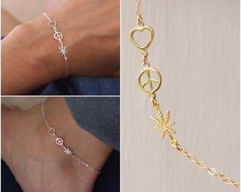 Love Peace Weed bracelet or anklet- weed anklet - weed bracelet - tiny charms bracelet -