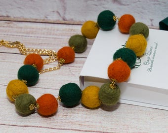 felt beads wool felt beads felt necklace felted necklace wool beads wool necklace felt jewelry felted wool necklacefelted wool beads