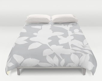 Grey Duvet Cover - Grey and White Botanical Duvet Cover - Grey Bedding - Full Queen King - Grey Decor - Aldari Home
