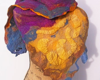 Nunofelted Silk Scarf Mulberry Purple with  Musturd Yellow; 67 in. x 17 in; OOAK; Eco-Friendly; Luxury Gift for Her;Wool Stole; Art Scarf