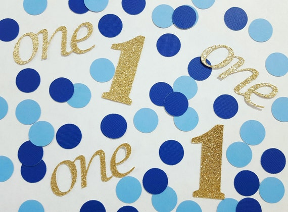 100 pcs Gold or Silver Glitter First Birthday Blue Confetti 1st