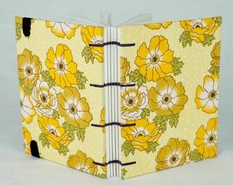 Travel Journal, 1970s Fabric Journal, Artist Notebook, Spring Journal, Thankful Journal, Gardener gift, Keepsake Notebook, Sketchbook