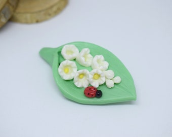 Lily of the Valley may lily flower, hand molded polymer clay brooch ladybug, Lily of the Valley brooch, jewelry, spring, women gift idea