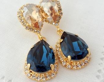 Navy blue earrings,Champagne earrings,Chandelier earrings,Navy blue Bridal earrings,blue bridesmid gift,Dangle Drop earrings,blue wedding