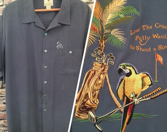 Vintage Men's Silk Embroidered Aloha Shirt     Size Extra Large