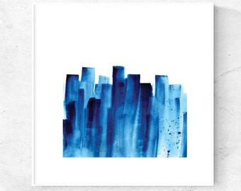 Watercolor abstract print, printable abstract art, blue abstract painting square digital art, printable blue wall art, 12x12 print, 5x5