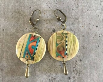 polymer clay earrings pair - maya - new