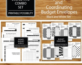 Money Budget and Bills Planner And Budget Envelopes Combo Set - Printable Financial - Track Your Budget Bills - Money Management Pages