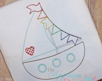 Summer Vintage Stitch Sailboat Digital Embroidery Design Machine Applique