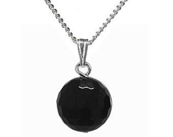 12mm Genuine Black Onyx Gemstone Faceted Bead / Ball / Sphere 925 Sterling Silver Pendant + Chain / Necklace