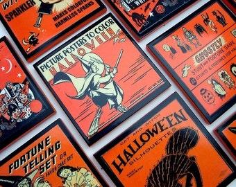 Halloween Decor Vintage Halloween Coaster Set Hostess Gift Party Favor, Wood Drink Coasters, Set of Six, Holiday Coasters, Set of six