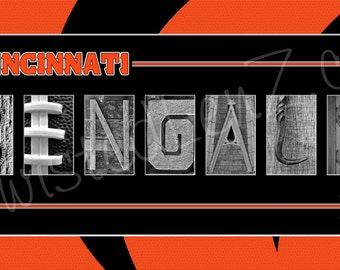 Cincinnati Bengals Alphabet Photo Collage