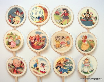 Nursery Rhyme Cupcake Toppers, Mother Goose, Baby Shower, Birthday Party, First Birthday, Storybook Theme, Cupcake Picks, Choose Quantity
