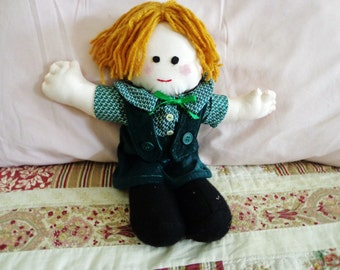Little Boy Fabric Doll with Green Clothing