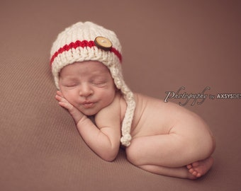 off white red baby  boy knitted earflaps hat, newborn photography prop, baby shower gift, baby photo prop, infant earflap beanie