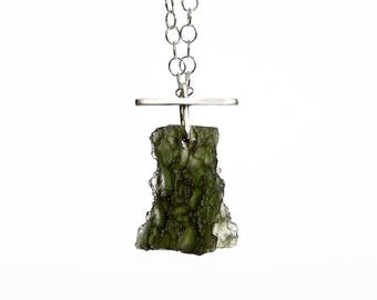 "Moldavite Meteorite Necklace ""Hesperides"" Moldavite Necklace, Moldavite Meteorite Pendant Necklace in Sterling"