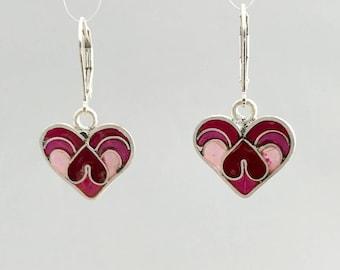 Heart Earrings Valentines in silver and enamel