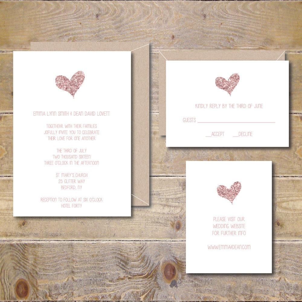 Glitter Wedding Invitations Rose Gold Wedding Invitations