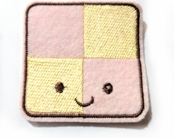 Battenberg Cake with a face Kawaii embroidered iron on patch