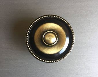 Large Metal Knob Pull Brushed Gold & Black Round Beaded Edge New Unused 5 Available - #F3027