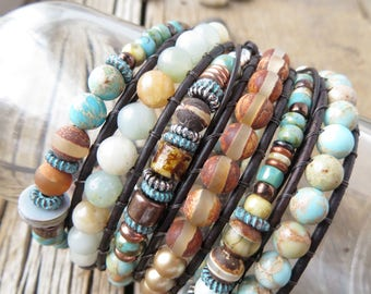 Chic Boho Bracelet - Present for the Best Mom Sister Girlfriend Wife - Brown Beaded Bracelet - Versatile Leather Wrap - Cute Bohemian Jewely