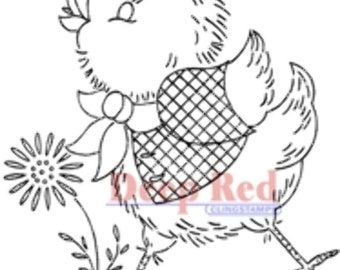 Deep Red Rubber Stamp Spring Chicken Chick Easter Pal