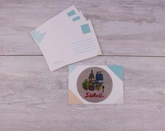 Sheffield postcard - textile artwork postcard - Sheffield memorabilia card