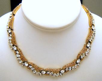 Stunning Uncommon Vintage Crown Trifari Necklace Lt Brown Clear Rhinestones