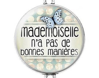 Large silver cabochon connector mademoiselle has no manners