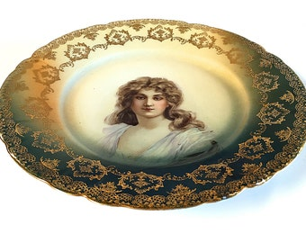 Rosenthal Malmaison Bavaria Portrait Plate Cake Antique Serving Gold Filigree German Made in Germany Victorian Edwardian Era 1898-1906