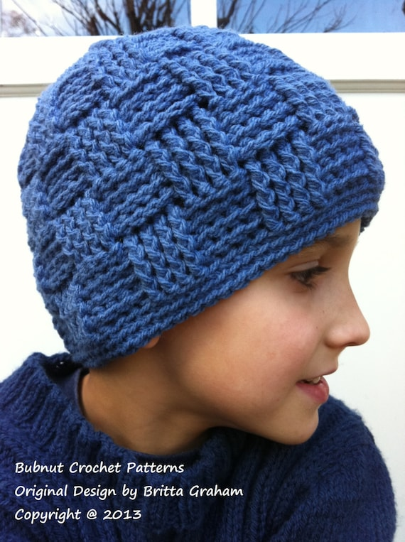 Boys Crochet Hat Pattern No.124 Basket Weave Baby Toddler