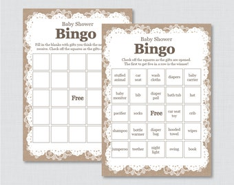 Burlap and Lace Baby Shower Bingo Cards Printable - Prefilled Bingo Cards AND Blank Cards - Digital Instant Download - Burlap Lace 0063
