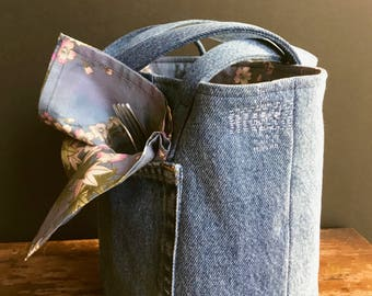 Quart 2 jar Jars to Go mason jar carrier bag, Recycled jeans lunch tote cozy